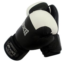 12oz Black/White Real Leather Boxing Gloves