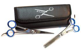 "6.5"" Professional Hair Cutting Razor Edge Barber & Thinning Scissors 2 pc Set"