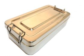 "8""x4""x2"" Surgical Instrument Tray with Lid Holloware Dental Medical"