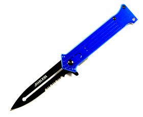 "Joker 8"" Blue Spring Assist Folding Knife 3CR13 Stainless Steel with belt clip"