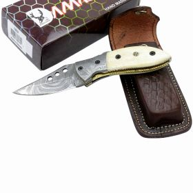 "TheBoneEdge 7"" Damascus Blade Folding Knives Horn Handle Handmade with Sheath"