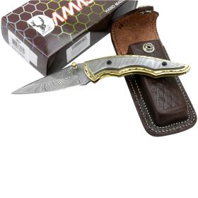 "TheBoneEdge 7.5"" Damascus Blade and Handle Folding Knives Handmade with Sheath"