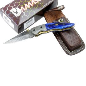 "TheBoneEdge 7.5"" Damascus Blade Folding Knife Blue Horn Handle Handmade Sheath"