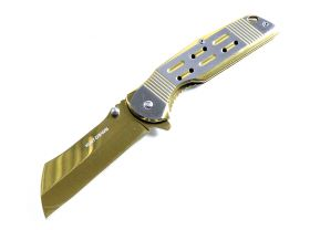 "Hunt Down 8.75"" Gold Color Razor Style Blade Spring Assist Folding Knife 3CR13"