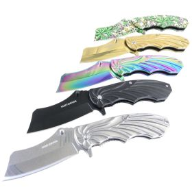 "Hunt-Down 7"" Mixed Color Stainless Steel Spring Assisted knives With Belt Clip"
