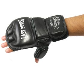 Last Punch Geniun Leather Fingerless Boxing Fighting MMA Training Gloves Black