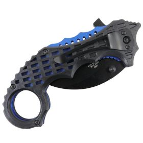 "TheBoneEdge 6"" Blue & Black Colors Ball Bearing Spring Assisted Knives With Belt Clip"