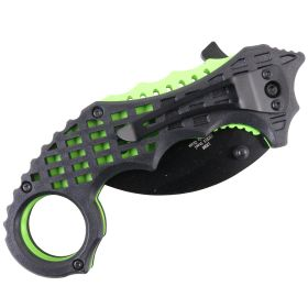 "TheBoneEdge 6"" Green & Black Colors Ball Bearing Spring Assisted Knives With Belt Clip"