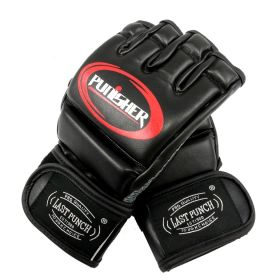 Last Punch PU Leather Fingerless Boxing Fighting MMA Training Gloves Black