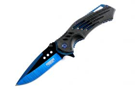 "Defender Xtreme Blue 8.75""  Spring Assisted Tactical Folding Knife 3CR13 Steel"