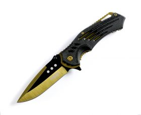 "Defender Xtreme Golden 8.75""  Spring Assisted Tactical Folding Knife 3CR13 Steel"