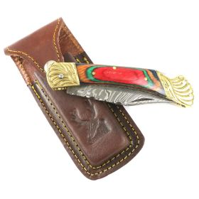 """8.5"""" Damascus Blade Folding Knife Mlti Color Wood Handle hand made with Sheath"""