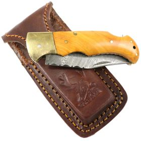 "6.5"" Damascus Blade Folding Knife Wood Gold trim hand made with Sheath"