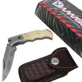 "TheBoneEdge 6.5"" Damascus Blade Folding Knife White Handle With Leather Sheath"