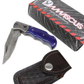 "TheBoneEdge 6.5"" Damascus Blade Folding Knife Blue Handle With Leather Sheath"