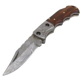 "TheBoneEdge 6.5"" Damascus Blade Folding Knife Wood Handle With Leather Sheath"