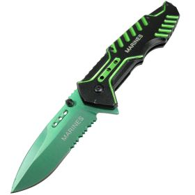 Defender Tactical Green Spring Assisted Folding Knife 3CR13 Stainless Steel