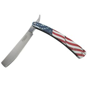 "Defender-Xtreme 10"" Straight Razor USA Flag Folding Knife 3CR13 Stainless"