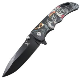 "TheBoneEdge 7"" Stainless Steel Tribe Chief Spring Assisted Folding Knife"