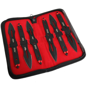 "Defender-Xtreme 6.5""Set of 6 Piece Ninja Throwing Knife Kit Stainless Steel Black"
