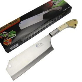 "TheBoneEdge 12"" Cleaver Knife Stainless Steel Sharp Butcher Knives Pearl Handle"