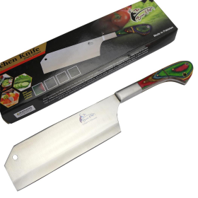 "TheBoneEdge 12"" Chef Kitchen Cleaver Multi Color PackaWood Handle Knife Stainless Steel"