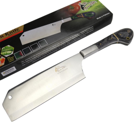 "TheBoneEdge 12"" Chef Kitchen Cleaver Knife Black Packawood Handle Stainless Steel"