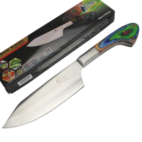 "TheBoneEdge 11"" Chef Kitchen Knife Multi Color Packawood Handle Stainless Steel Full Tang"