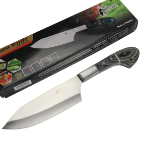 "TheBoneEdge 11"" Chef Kitchen Knife Black Packawood Handle Stainless Steel Blade"