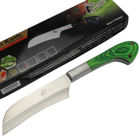 "TheBoneEdge 10"" Chef Kitchen Knife Green Packawood Handle Stainless Steel Blade"