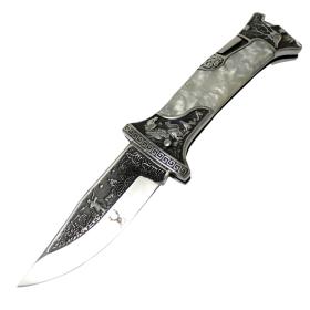 "TheBoneEdge 9"" Classic Western Folding Knife 3CR13 Stainless Steel Pearl Handle"