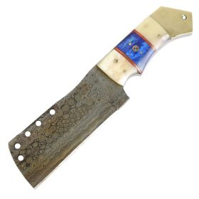 "TheBoneEdge 9.5"" Full Tang Damascus Blade Bone Handle Cleaver Style Hunting Knife"