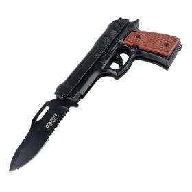 "Defender-Xtreme 8.5"" Brown Handle Spring Assisted Gun Folding Knife 3CR13 Steel"
