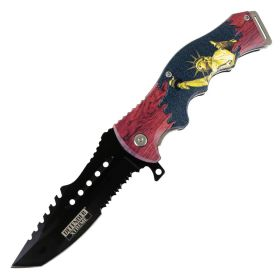 "Defender-Xtreme 8.5"" Lady Liberty Spring Assisted Folding Knife Stainless Steel"