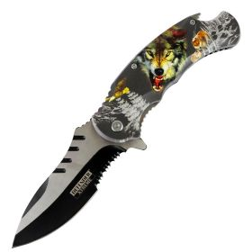 "Defender-Xtreme 8.5"" Angry Wolf Spring Assisted Folding Knife Stainless Bottle Opener"