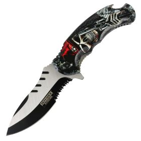 "Defender-Xtreme 8.5"" Pirate Gun Spring Assisted Folding Knife Stainless Bottle Opener"