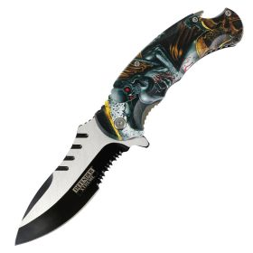 """Defender-Xtreme 8.5"""" Reaper Skull Spring Assisted Folding Knife Stainless Bottle Opener"""