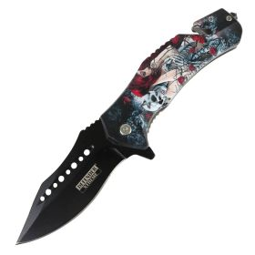 "Defender-Xtreme 8.5"" Glass Breaker Lady & Skull Spring Assisted Folding Knife"