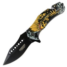"Defender-Xtreme 8.5"" Glass Breaker Skull Indian Spring Assisted Folding Knife"