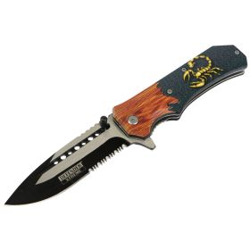 "Defender-Xtreme 8.5"" Scorpion Wood Color Handle Spring Assisted Folding Knife"