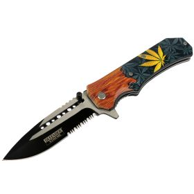 "Defender-Xtreme 8.5"" Leaf Wood Handle Spring Assisted Folding Knife Tactical New"