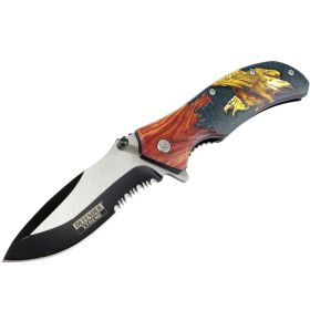 "Defender-Xtreme 8.5"" Bald Eagle Wood Color Handle Spring Assisted Folding Knife"