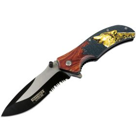"Defender-Xtreme 8.5"" Dire Wolf Wood Color Handle Spring Assisted Folding Knife"