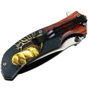 """Defender-Xtreme 8.5"""" Elk Wood Handle Spring Assisted Folding Knife Tactical Sharp"""