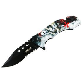 "Defender-Xtreme 8"" Knight In Armor Spring Assisted Folding Knife Glass Breaker"