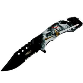"Defender-Xtreme 8""Knight & Sword Spring Assisted Folding Knife Glass Breaker"