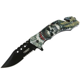 "Defender-Xtreme 8"" Skull Chief Spring Assisted Folding Knife Glass Breaker Rescue"