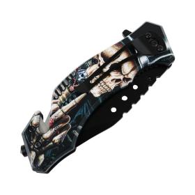 """Defender-Xtreme 8"""" Top Hat Skull Spring Assisted Folding Knife Belt Cutter & Clip"""