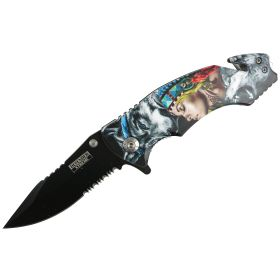 "Defender-Xtreme 8"" Wolf Woman Spring Assisted Folding Knife Tactical Belt Cutter"