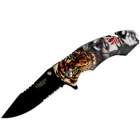 "Defender-Xtreme 8"" Lioness Lady Handle Spring Assisted Folding Knife Belt Cutter"